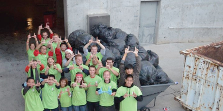 Recycle Rice-Eccles volunteers at a football game in 2012.