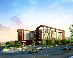 A rendering of the new S.J. Quinney College of Law building by VCBO Architecture.