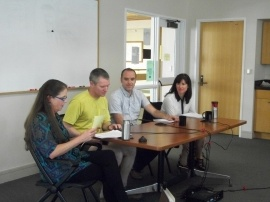 Panel of Scientists. From left to right:  Julia Corbett, Jim Steenburgh, Simon Brewer, and Andrea Brunelle,