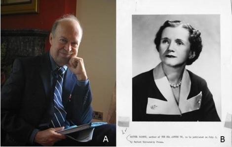 """A) NASA Scientist James Hansen. Photo thanks to """"World Development Movement"""". http://bit.ly/1ipzrKR  B) Rachel Carson, Marine Biologist and Conservationist. Photo thanks to """"Euclid vanderKroew"""". http://bit.ly/1dERP4N"""