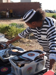DJ Inacio Lopez blasts classic Halloween tunes from vinyl.