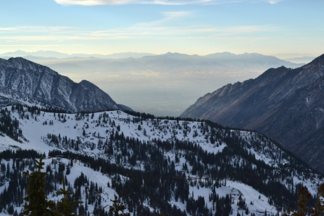 Looking down on Salt Lake Valley air quality from Little Cottonwood Canyon.