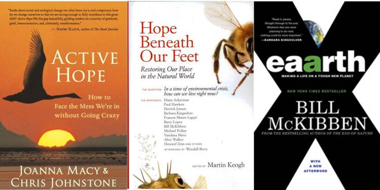 Book Covers for Active Hope, Hope Beneath Our Feet, and Eaarth