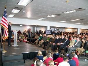 A full room for Mayor Becker's address.
