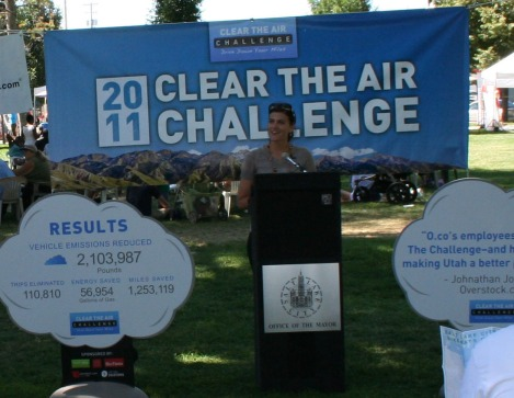 Kate Lohnes presenting about the Clear the Air Challenge.