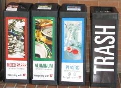 """The U's """"recycling quad:"""" mixed paper, aluminum, plastic #1&2, and trash."""