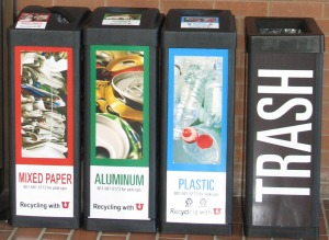 "The U's ""recycling quad:"" mixed paper, aluminum, plastic #1&2, and trash."