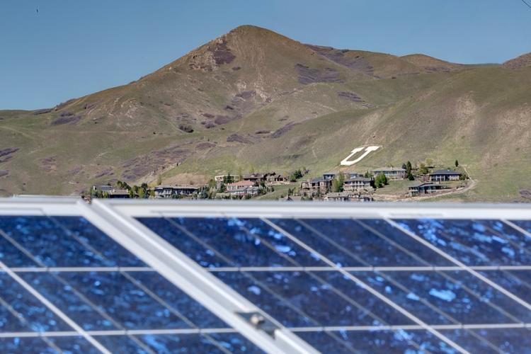 Solar panels at the University of Utah.