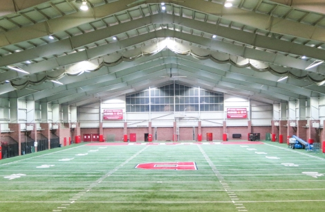 New LED lights shine down on the training field at the Spence and Cleone Eccles Football Center.