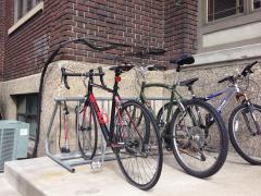 Bike racks outside Sigma Chi.