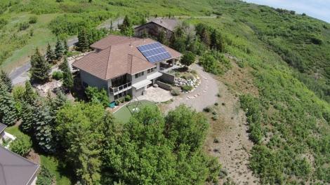 Aerial photo of the first solar install through the U Community Solar program.