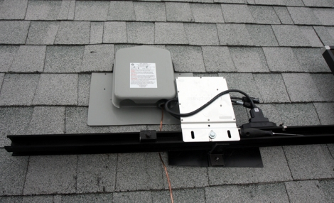 Step 3: Close-up of the Soladek. This is where all the wires from the panels run into the attic. Flashing around the Soladek box prevents roof leaks.