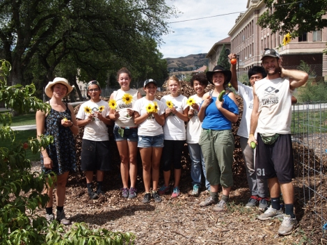Real Food Rising volunteers and Edible Campus Gardens crew worked 30 service hours in two days to preserve garden amenities.