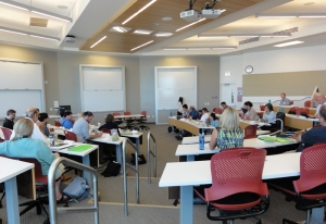 Faculty members collaborate on sustainability definitions at the Wasatch Experience workshop on August 18.