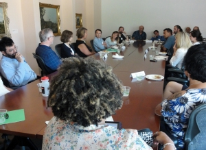 Faculty discuss sustainability learning outcomes with Senior VP Ruth Watkins during a lunch session of the workshop.