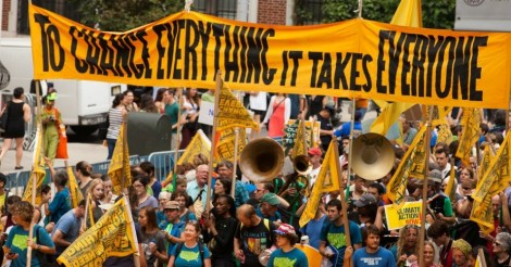 Climate advocates walk through the streets of New York City as part of the People's Climate March. Photo by South Bend Voice/Flickr