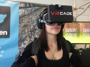"A user experiences the ""I, Chicken"" virtual reality."