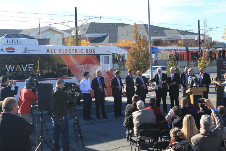 Representatives from the U of U, USU, UTA, state legislature, and WAVE formally cut the cord to launch the first wirelessly charged electric bus on campus and in the country