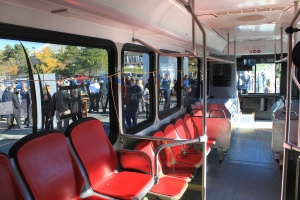 Inside the electric bus
