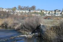 The Jordan River and parkway trail near Riverton, UT.
