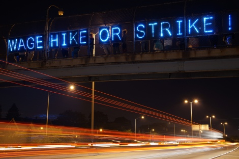 """Wage hike or strike."" Milwaukee joins the fast food protests. Photo by Light Brigading, Flickr/Creative Commons."