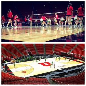 The Utes Volleyball team plays on the renovated court.