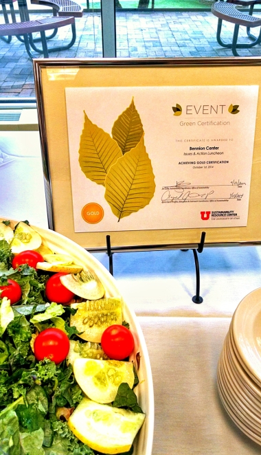 The Bennion Center displays its Gold Certification on the buffet table to educate participants.