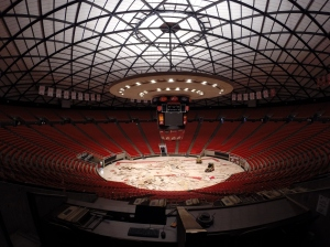 Beginning the renovation of the 43 year-old Huntsman Center. Photo courtesy Stadium & Arena Event Services.