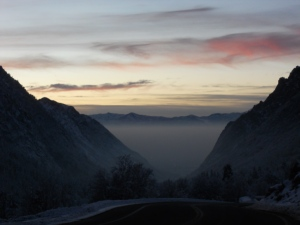 View of pollution trapped in a winter inversion, looking back at the city from Little Cottonwood Canyon. Photo: Laura Schmidt
