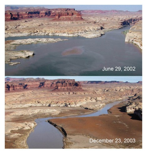 This photo, from the Environmental Protection Agency web site, shows the effects of drought on water levels in Lake Powell, a body of water that experiences heavy recreational use. Professor Brownlee's research studies people's experiences perceiving climate change in parks and other public lands.