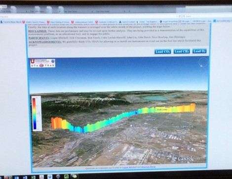 Screen shot of a 3-D representation of ozone measurements, results of a summer 2014 pilot TRAX-mounted air quality study.