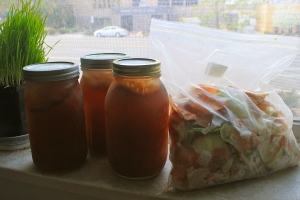 Jars of frozen broth made from veggie scraps.