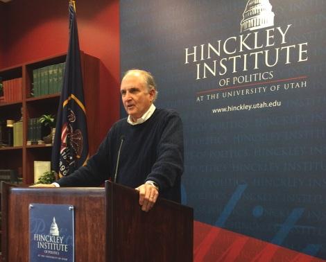 David Orr spoke on sustainability leadership at Friday's Hinckley Forum.