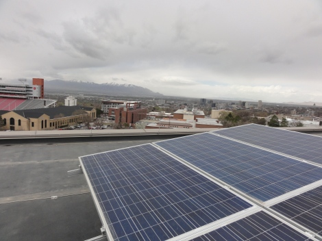 A 126-panel solar array bedecks the roof of Marriott Library.