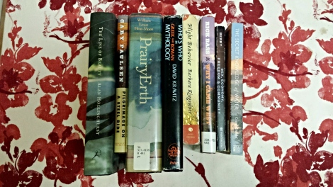 Collection of the author's books, all purchased second-hand.
