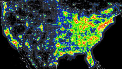 Light pollution map of the United States. Areas that are white represent levels 8 and 9 on the Bortle Dark-Sky Scale. Source: Big Sky Astro Club