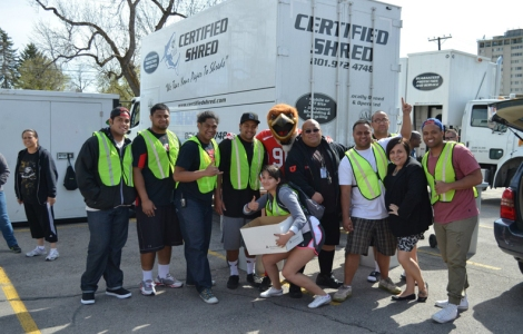 Volunteers helped make last year's paper shredding drive a success for Staff Council.