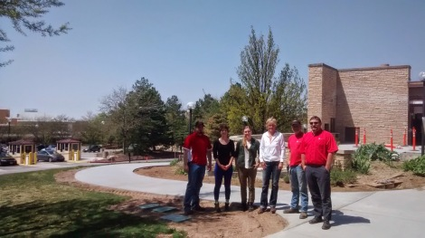 From left to right: John Walker, irrigation tech specialist; Emma Wilson, garden steward; Marykate Glenn, garden coordinator; Sue Pope, facility manager for landscape and open space; Brad Christensen; irrigation crew leader; and Brett Petersen, project manager.