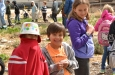 Elementary students enjoy some time outside at the all-organic Edible Campus Gardens.