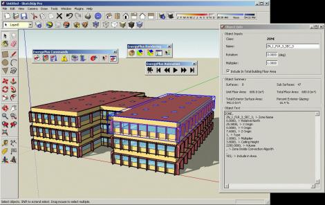 Screen shot of the EnergyPlus modeling system, which evaluates buildings' energy use and needs, as well as their financial energy costs and greenhouse gas emissions. Image: energyplus.software.informer.com
