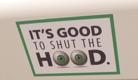 Sticker from a campaign encouraging students to close the sash on fume hoods. Shutting the sash saves a massive amount of energy and air flow.