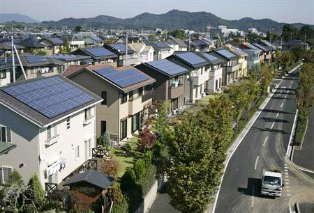 On-site solar systems in Japan. Solar is one potential source for on-site, or site-specific, energy generation. Photo: clean-coalition.org