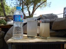 The water in the center glass was treated at the water filtration facility for Mehran University of Engineering and Technology. While an improvement over the water in the glass at right, there is still room to increase water quality.