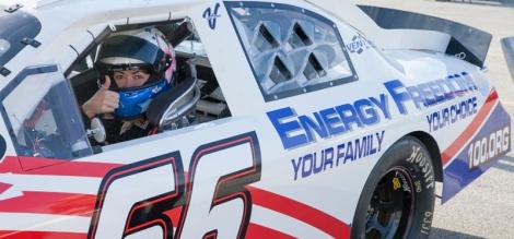Leilani Münter promoting energy freedom on the Daytona International Speedway