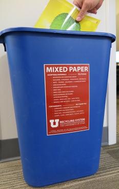 Mixed paper recycling bin.