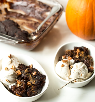 Gooey Pumpkin Spice Latte Chocolate Pudding Cake