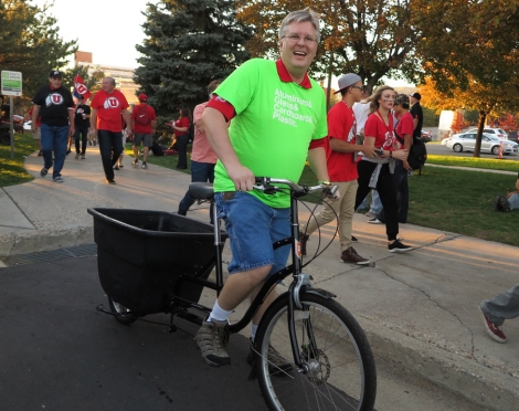 Mike Christensen on the RecycBike, a SCIF funded project to raise awareness and encourage campus recycling, at Recycle Rice-Eccles.