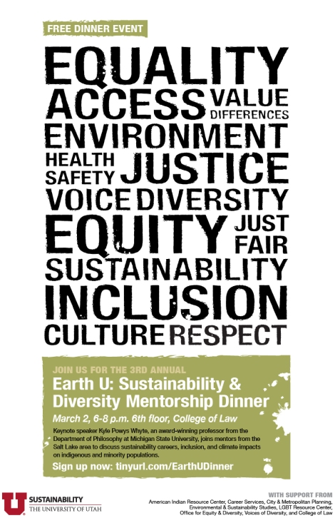 2016 Earth U: Sustainability & Diversity Mentorship Dinner poster.
