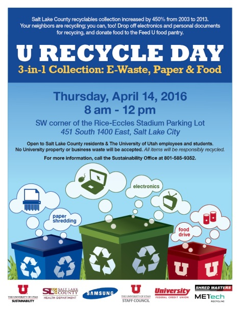 Flyer for the 2016 U Recycle Day 3-in-1 collection: E-Waste, Paper, & Food