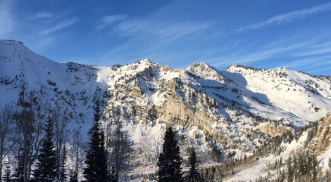A shot of Little Cottonwood Canyon just before the sunset during a ski day at Snowbird.